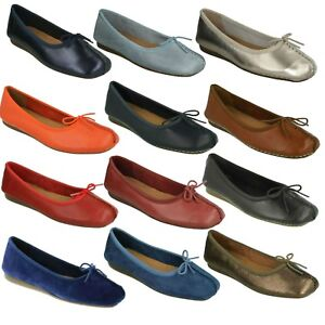 Details about LADIES CLARKS UNSTRUCTURED LEATHER SLIP ON BALLERINA FLAT PUMP SHOES FRECKLE ICE