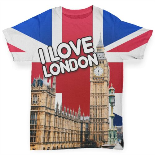 Baby T-shirt I Love London Landmarks Baby Toddler Funny ALL-OVER PRINT