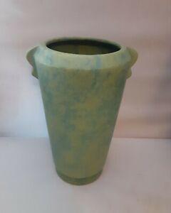"ANTIQUE Vintage Mottled Green Retro ART DECO WELLER Pottery VASE 8"" Very Nice"