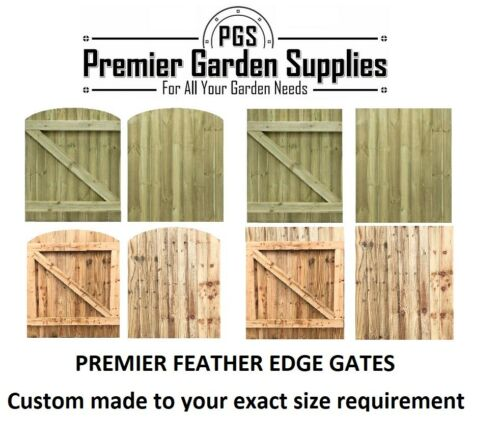 Made To Measure Wooden Garden Gate Feather Edge Treated from 900mm-1200mm High