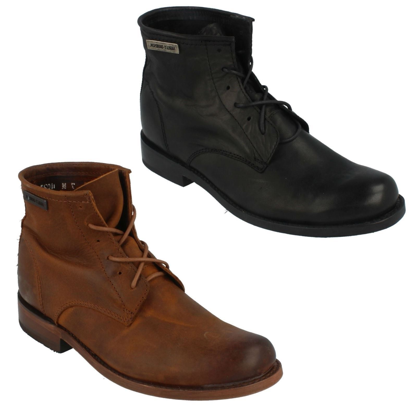 Mens Black or Tan Leather Harley Davidson Lace Up  Boots TARRSON