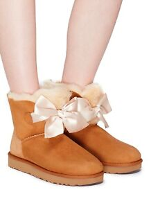 ff107f1c32c Authentic UGG Brand Women's Shoes Sheepskin Gita Bow Mini Boots ...