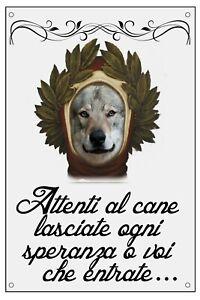 LUPO-CECOSLOVACCO-DANTE-ALIGHIERI-TARGA-METALLO-CARTELLO-IDEA-REGALO-CANE