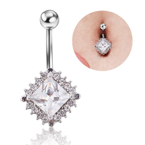 SurgicalSteel Crystal Navels Rings Belly Button Ring Bar Piercing Jewelry Beauty