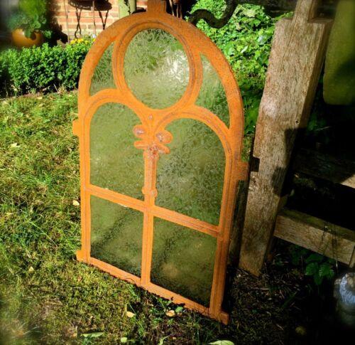 Antik Fenster aus Gusseisen Eisenfenster Kirchenfenster NEU Eisblumen Glas
