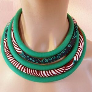 Women Ankara African Net Necklaces Shawl Collar Fabric Handmade African Jewelry