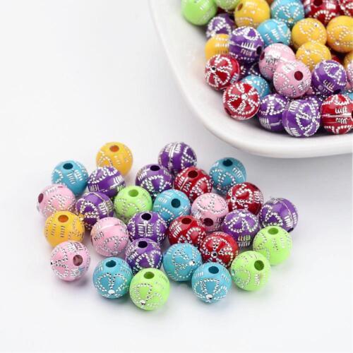 2118 50 Acrylique Perles 8 mm Acrylique Perles Métal plaqués BRICOLAGE deco
