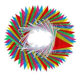 125-FT-environ-38-10-m-Multicolore-Nylon-Pennant-Bannieres-avec-100-E-drapeaux-pour-interieur-damer