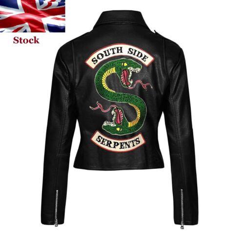 Riverdale Southside Serpents Snake Patch Women Black Motorcycle Leather Jacket