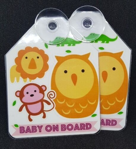 Baby on Board High Quality 2 Removable Signs Baby Animals Monkey Baby Feet