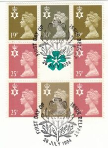 (81375) GB Used Northern Ireland Booklet Pane 1994 ON PIECE