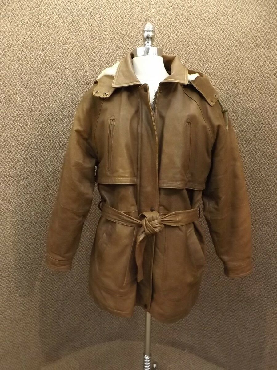 Warm Vtg Wilda Hooded Leather Coat W  Removable Liner M L Rancher Trench Parka