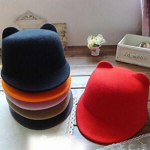 ce5e897125d341 New Vogue Winter Women Girl Wool Derby Devil Hat Cute Kitty Cat Ears ...