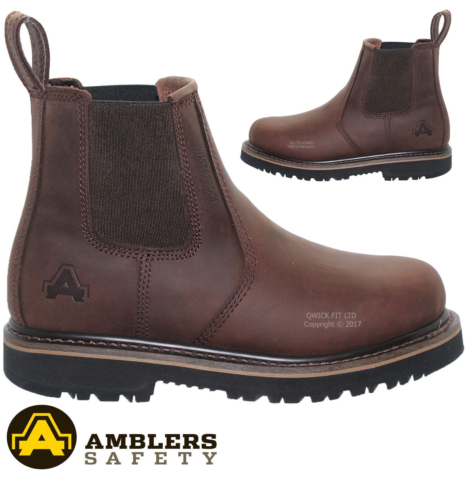 NEW MENS AMBLER WATERPROOF SAFETY WORK STEEL TOE CAP DEALER SHOES CHELSEA BOOTS