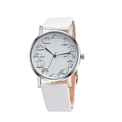 Cartoon Women's Leather Band Analog Quartz Wrist Watch Stainless Steel Watches