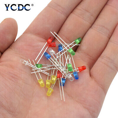 100Pcs Bright Colorful LED Lights Emitting Diodes Lamps Beads Diameter 3mm 5mm