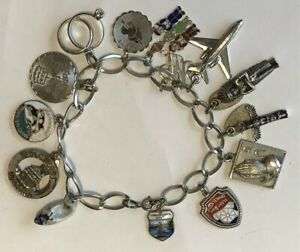 fad90f54a Image is loading Vintage-STERLING-SILVER-Charm-Bracelet-with-15-Charms-