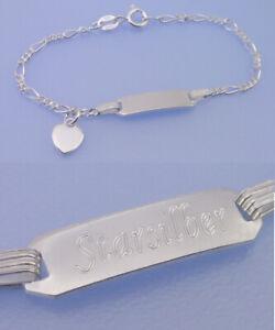 Echt-925-Silber-GRAVUR-Armband-Figaro-ID-Gravurplatte-Kinder-Taufe-HERZ-12-14-cm