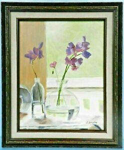 "M. JANE DOYLE SIGNED ORIG.ART OIL/CANV PAINTING ""SWEET PEAS"" (STILL LIFE) FRAMED"