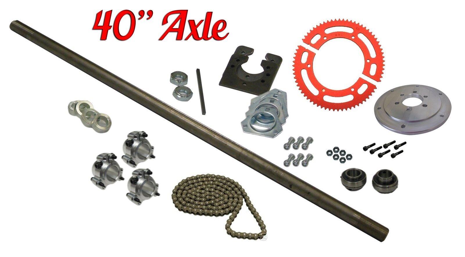 Drift Trike 1  x 40  Live Axle Kit w Hubs Bearings Flangettes Chain Hardware