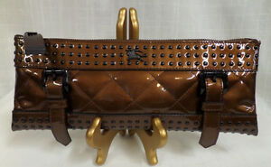 13976570a44e Image is loading Authentic-Burberry-Medium-Patent-Leather-Quilted-Studded- Clutch-
