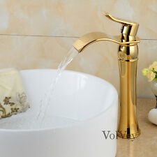 "12"" Gold(Ti-PVD) Bathroom Sink Faucets Waterfall One Hole/Handle Vessel Lavatory"