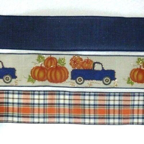 Fall Navy Blue Truck Pumpkins Plaid Wired Ribbon Autumn 25/' Each Roll New