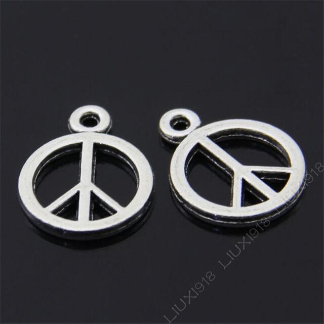 20x Retro Peace Symbol Pendant Charms Dangle Accessories Tibetan Silver S39T