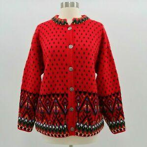 Dale-of-Norway-Cardigan-Sweater-Womens-100-Wool-M-Medium-Red-Green