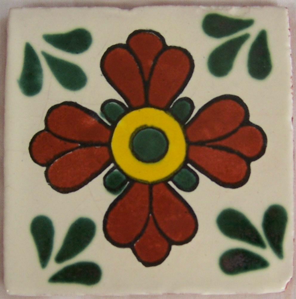 C040- Mexican Handmade Talavera Clay Tile Folk Art 4x4