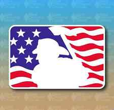 "Fire Fighter with Axe American Flag Fireman 6"" Custom Vinyl Decal Sticker"