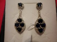 Lab Created Blue Sapphire Dangle Earrings In Platinum Overlay-5.50 Carats