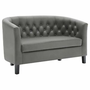 Superb Details About Modway Prospect Faux Leather Tufted Loveseat In Gray And Black Short Links Chair Design For Home Short Linksinfo