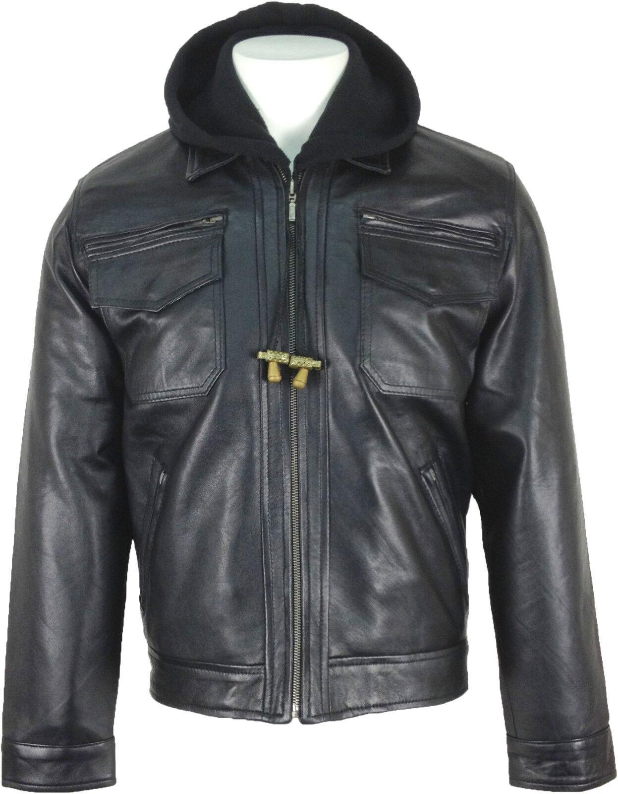 UNICORN Hombres Moda Encapuchado Genuino real cuero chaqueta Negro  K4