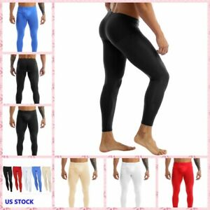 Men Stretchy Long Johns Buckled Pouch Low Rise Elastic Waistband Pants Sleepwear