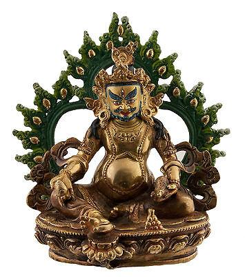 Diplomatisch Kubera Zambala -statue Tibetischer 18cm Kupfer Nepal Afr12-4295