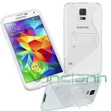 Custodia WAVE BIANCA con stand per Samsung Galaxy S5 G900F cover trasparente