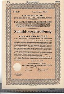 Germany $1000 Dollar Konversionskasse Bonds for sale in USA New Neue Ausgabe