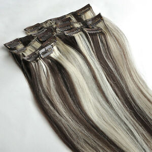 4 613 16inch 70g clip in on human hair extensions brown