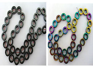 34pcs-Gemstone-Hematite-Donut-Beads-In-Polished-amp-Rainbow-Colour-12mm-x-4mm-each