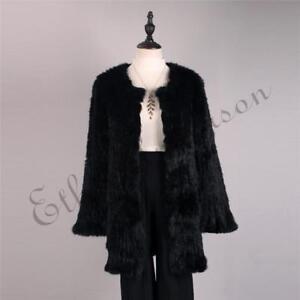 de piel genuino clásica Chaqueta largos bolsillos Mujeres de conejo Abrigo 5wgHcOEqw