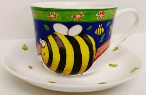 Colourful-Bumblebee-Large-Cup-amp-Saucer-Bees-Bone-China-Set-Hand-Decorated-in-UK