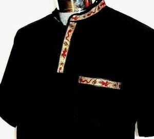 Mexico-Black-Casual-Shirt-Pueblo-Henley-Cotton-Manta-Embroidery-5-de-Mayo-vtg