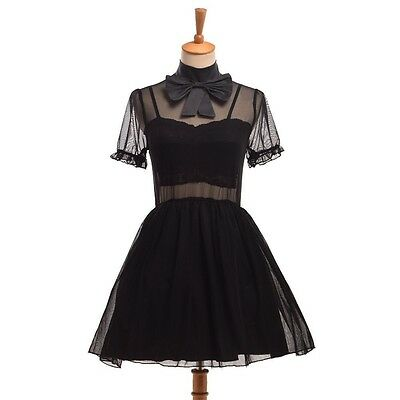 1pc Girls Japanese Gothic Lolita Tulle Fairy Princess Bow Transparent Dress