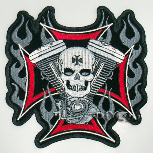 Fire Flame Cross Skull Biker Motorcycle Embroidered Iron on Patch Badge Applique