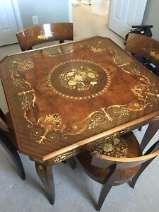 Image Is Loading Notturno Inlaid Wood Table 4 Chairs Included