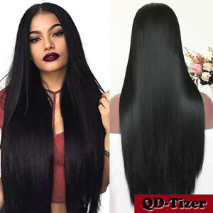 Long Black Synthetic Lace Front Wig Heat Resistant Straight Hair ... 6cb7798a06