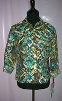 Ruby Rd. Favorites Jacket Teal/brown Size 8 Retail $59