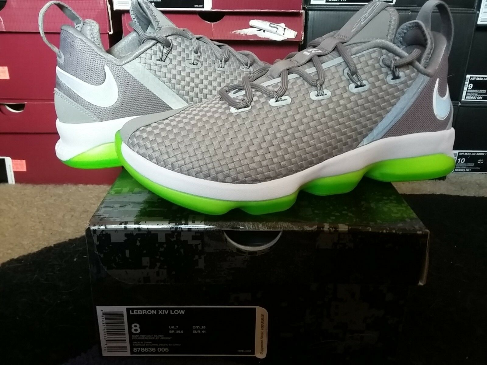 Nike Air Zoom Max LeBron James XIV 14 Low Dunkman Dust Reflect Silver 878636 005