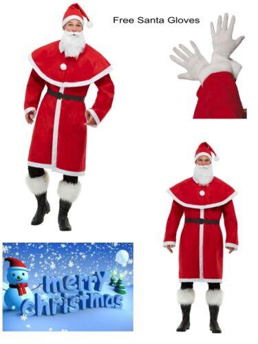 Mens Santa Father Christmas Grotto Full Costume Cape Robe Beard Hat FREE Gloves